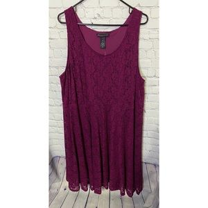 Lane Bryant Burgundy Lace Midi Dress Size 28 NWT